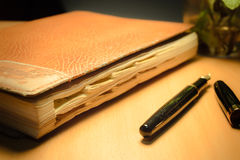 Old diary and pen Royalty Free Stock Image