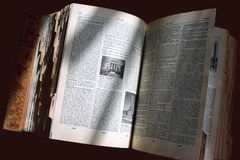 Old dictionary. In the sun stock photos