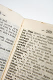 Old Dictionary Series. Old Dictionary, pages with words, shot DOF shot in RAW with 4x Closeup Filter, this thing is only like 2 tall, used to be my mum's and it royalty free stock image