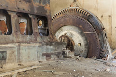 Old diesel engine with rotor stock image