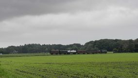 Old Diesel Freight Train. Pulling various railroad cars in the countryside stock video footage