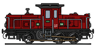 Old diesel locomotive. Hand drawing of an old dark red diesel locomotive - not a real type Royalty Free Stock Image