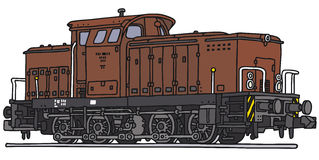 Old diesel locomotive. Vector illustration, hand drawing Vector Illustration