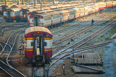 Old Diesel Locomotives and Trains in Bangkok Stock Photos