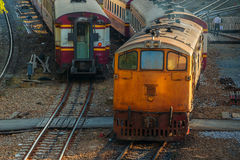Old Diesel Locomotives and Trains in Bangkok Stock Images