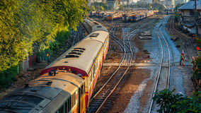 Old Diesel Locomotives and Trains in Bangkok Stock Photo