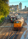 Old Diesel Locomotives and Trains in Bangkok Stock Image