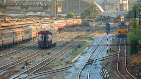 Old Diesel Locomotives and Trains in Bangkok Royalty Free Stock Image