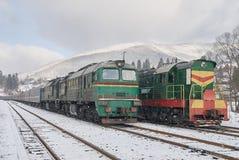 Old diesel passenger trains Stock Photo
