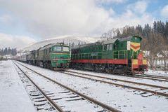 Old diesel passenger trains Royalty Free Stock Photography