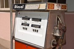 Old diesel petrol pump in Austria Royalty Free Stock Photo