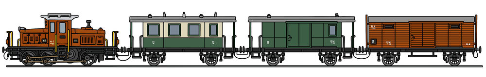 Old diesel train. Hand drawing of an old diesel train - not a real model Stock Photo