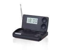 Old digital radio alarm clock isolated on white Stock Photos
