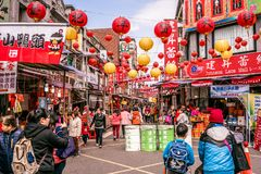 Old Dihua jie shopping street view full of people in Taipei Taiw stock photo