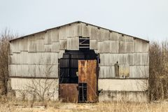Old dilapidated agricultural hangar Royalty Free Stock Photos