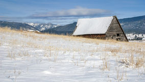 Old dilapidated barn in the mountains with snow Stock Images