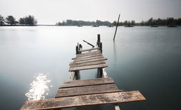Old dilapidated bridge at Pulau Kekabu Royalty Free Stock Photo