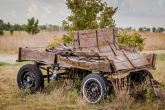 Old dilapidated buckboard. In a field in Kansas Stock Images
