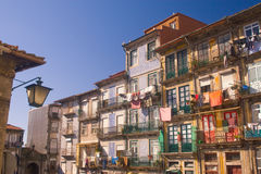 Old dilapidated houses. In the old town of Porto, Portugal stock images