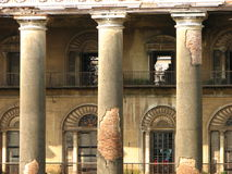 Old dilapidated Indian palace. Details of disrepair on columns outside the Palace at Andul, Howrath, West Bengal, India Royalty Free Stock Photo