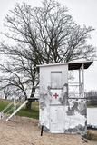 Old dilapidated lifeguard tower on a lake near Magdeburg. In Germany Royalty Free Stock Photography