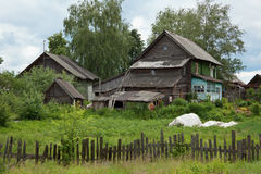 Old dilapidated rustic wooden houses Royalty Free Stock Photos