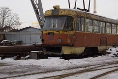 Tram. An old rusty tram. stock images