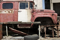 Old dilapidated truck. In the back yard Stock Photo