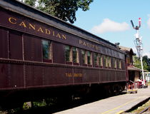 Old Dining Car At The Central Alberta Train Museum Stock Image