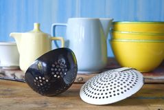 Old dippers and dishes Stock Photos