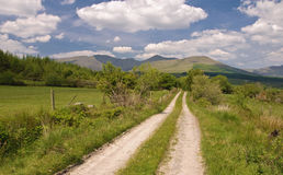 Old dirt road up to a mountain in ireland Royalty Free Stock Photo