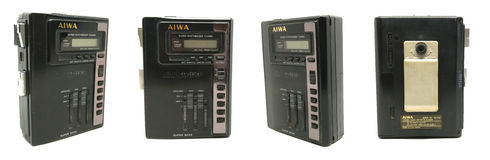 Old dirty AIWA portable audio compact cassette / radio player is royalty free stock photos