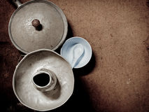 Old and dirty aluminum ware with grunge stock photo