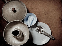 Old and dirty aluminum ware with grunge royalty free stock photo