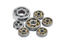 Old and dirty ball bearing and die Stock Photography