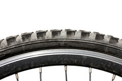 Old dirty bicycle tire wheel Royalty Free Stock Image
