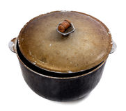 Old dirty big pot on white background Royalty Free Stock Photos