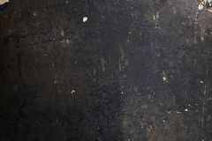 Old dirty black wall texture with soot and spots. Vintage background stock photo