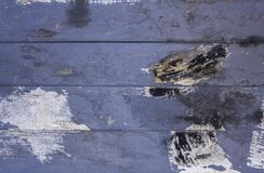 Old dirty blue gray fence from wooden boards with scratches and stains of black white paint. horizontal lines. rough surface. A old dirty blue gray fence from stock images