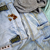 Old and dirty blue jeans. Details royalty free stock photos