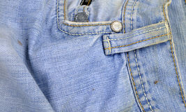 Old and dirty blue jeans. Details royalty free stock photography