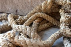 Old dirty Boat Rope Textured close up stock photo