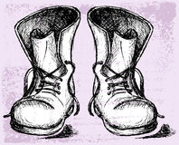 Old and dirty boots. Grunge style stock illustration