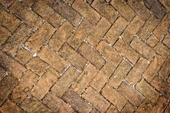 Old dirty brick stone floor texture. Old dirty brick stone floor texture in garden Stock Images