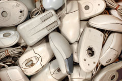 Old dirty and broken computer mice Royalty Free Stock Photo