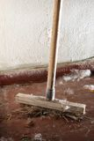 Old dirty broom Stock Photo