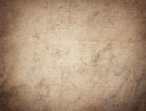 Old dirty brown horizontal creasy burlap texture Stock Photography