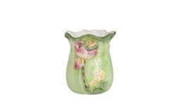 Old, dirty ceramic flower vase isolated on white background Stock Photo