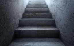 Old dirty concrete stairs to light.The way to success. 3d render. Old dirty concrete stairs to light. 3d rendering Stock Photos