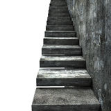 Old dirty concrete stairs with wall, 3D rendering Royalty Free Stock Photo